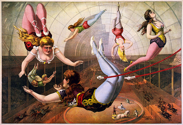 Artistin im Zirkus auf einer Trapezstange - lithograph by Calvert Litho. Co., 1890. Edited digital image from the Library of Congress, reproduction number: LC-USZC4-2091, Source=http://en.wikipedia.org/wiki/Image:Trapeze_Artists_in_Circus.jpg