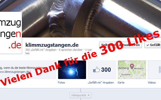 """Klimmzugstangen.de 300 Facebook """"Gefällt mir"""" Angaben"""