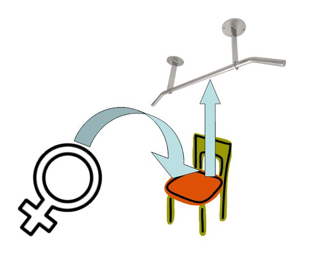 Frauen Klimmzüge lernen Stuhl
